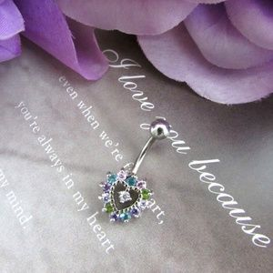 Multicolor CZ Heart Stainless Belly Button Ring